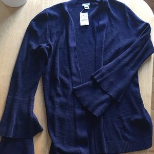 NWT J.crew navy sweater with cute sleeves